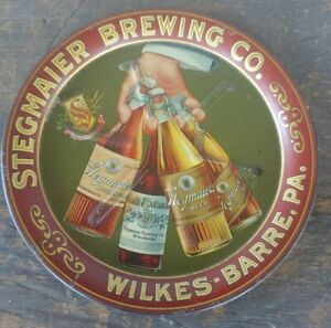 Antique Stegmaier Brewing Co Wilkes Barre Pa Tip Tray Tin Litho