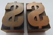 Printing Letterpress Printers Block Wood Type 2 Money Symbols