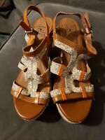Lucky Brand Keena Leather Platform Cork Wedge Strappy Sandals Womens Size 7.5