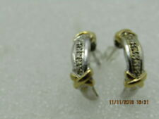 "Two Tone Half-Hoop Earrings, Illusion Setting, 3/4"", .25"" wide."