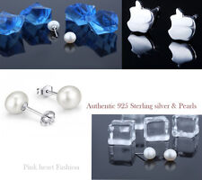 Solid 925 sterling Silver Earring Nature White Pearl Fashion Summer Apple Shape