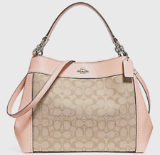 NWT Coach 29548 small Lexy Jacquard Shoulder Bag handbag Light Khaki Light Pink