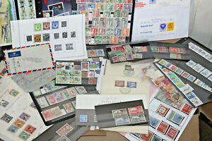 13Kg BOX OF WORLD STAMPS - ALBUMS, LEAVES, COVERS, EX AUCTION ITEMS AND MORE