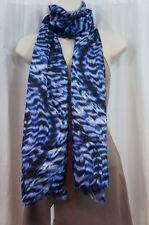 Calvin Klein Scarf Sz OS One Size Sapphire Blue Black Multi Silk Business Casual