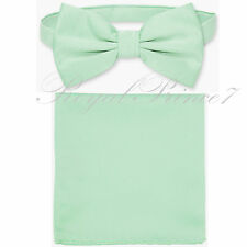 New Laurel Mint Green Men's Bow tie & Pocket Square Hankie wedding  Party Prom
