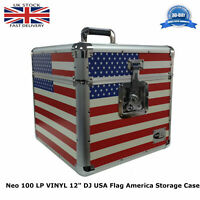 "1 x NEO Aluminum USA Flag America 100 Vinyl LP 12"" Storage DJ Flight Carry Case"