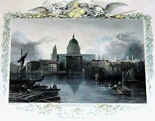 """~ c1837 TOMBLESON'S ENGRAVING FRAMED Hand Colored ST PAULS ON THE THAMES 15.5"""""""