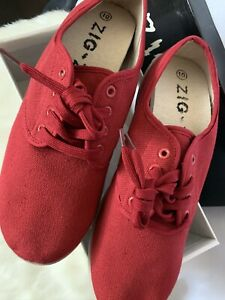 Zig Zag Women Red Casual Lace Up Flat Canvas Shoes Size UK8 (41)