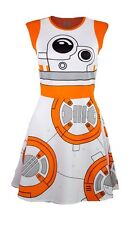 Star Wars BB8 Droid Costume Skater Dress Women's Juniors NWOT Orange/White XL