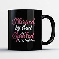 Girlfriend Coffee Mug - Spoiled Girlfriend - Funny 11 oz Black Ceramic Tea Cup -