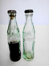 Two Vintage Miniature Coca-cola Bottles Green Glass Coke Bottle Sealed