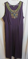 Diva Merlot Purple Long Dress Multi Beaded Neckline Empire Sleeveless Plus 3X