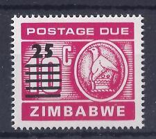 Lo Zimbabwe, 1990, le spese di spedizione dovuti, 25c Overprinted su 10c, SG D33, MNH singolo