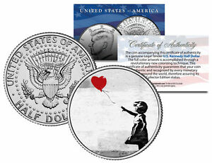 BANKSY * THERE IS ALWAYS HOPE * Colorized JFK Half Dollar Coin GIRL WITH BALLOON
