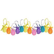 Pack of 12 Multicolour Glitter Hanging Easter 5x3cm Eggs - Bonnet Decoration