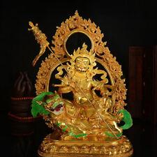 "13"" Antique Tibetan Buddhism hand painting copper gilt vaisravana Buddha statue"