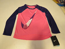 Nike Dri Fit active L/S shirt toddler girls 4T 26A252 AA6 Pink Pow Swoosh NWT*^