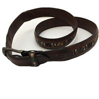 Columbia Brown Genuine Leather With 100% Cotton Belt Men Size 36