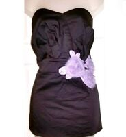 Torrid Gray Strapless Top Tube with Purple Floral Accent Plus Size 1