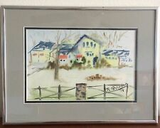 Mid Century Original Watercolor  Abstract House & Abstract