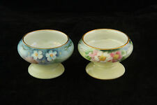 LOT OF 2 DIFFERENT HAND PAINTED CHINA BLUE & PINK FLOWERS OPEN SALT CELLAR DIP