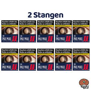 2 Stangen Pall Mall Red / Rot Zigaretten Super Box 10x37 Stück