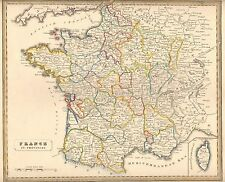 1848 Ca ANTIQUE  MAP-H/COL- FRANCE IN PROVINCES