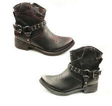 WOMENS LOW MID HIGH BLOCK HEEL ANKLE COWBOY BOOTS  LADIES SHOES NEW SIZE 3-8