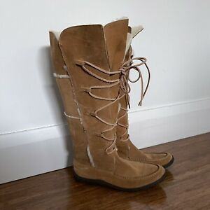 Ralph Lauren Womens Boots, Size 38, Brown Suede Leather High Lace Up Moccasins