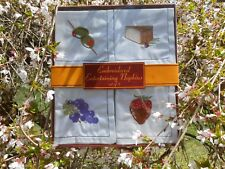 Cider House Cloth Embroidered Grapes Strawberry Cheese Olives Napkin Set of 8