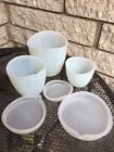 Pampered Chef FLEXIBLE SILICONE PREP BOWLS MEASURING CUPS- 1, 2, & 3 Cup W/lids