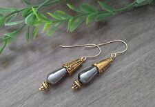 Gold Filled Hooks & Shiny Gray Hematite Gemstone Teardrop Dangle Earrings