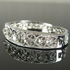 Prom 18K White Gold Filled made with Swarovski Crystal Bangle Bracelet Xmas b205