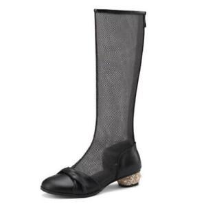 Chic Women Knee High Boots Ladies Casual Zip Up Block Heel Mesh Mid Calf Shoes L