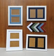 """Brushed White Finish Photo/Picture Frame with Double 6x4/4x6""""Aperture Mount"""