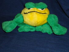 """5.5"""" tall Whimsical Green & Yellow BULLFROG stuffed plush toy by Play-by-Play"""