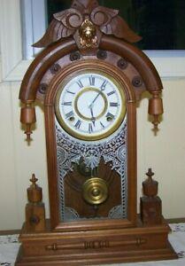 Beautiful Walnut Victorian Shelf Clock-Ornate/Runs/Brass Works-More than 100yrs.