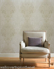 Neutrals, Gold & Cream With Gold Glitter, Indian Inspired Damask Wallpaper