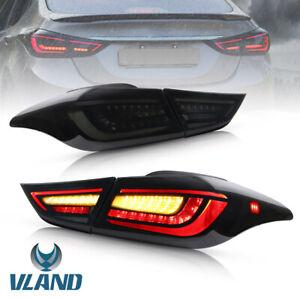 Full LED Taillights For Hyundai Elantra 2011-2016 Brake Smoke Lens Rear lamp R+L