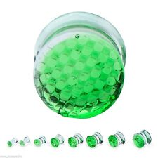 Plugs 05mm/4 Gauge Body Jewelry Pair-Glass Honeycomb Green Saddle Flare Ear