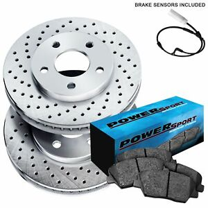 Fit 1984-1985 Porsche 911 Front PSport Drilled Brake Rotors+Ceramic Brake Pads