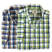 Timberland Men's Short Sleeve Plaid Madras Button Down Shirt A16CV