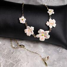 Collana 5 Piccola Fiore Smalto Bianco Rosa Foglio Verde Originale Sera