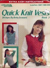 Leisure Arts 591 More Quick Knit Children/'s Vests Argyle Sailboat Patterns 1988