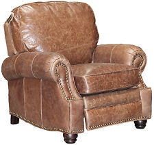 NEW Barcalounger Longhorn II Havana Brown Leather Manual Recline Chair Recliner