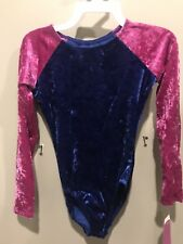 1 Nwts Childs Medium Long Sleeve Velvet Glida Marx Leotard Sweet