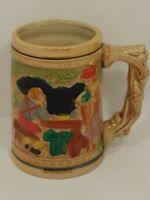 """Japan - Vintage Glaze Ceramic-Lusterware - Small 4 1/2"""" Beer Stein - Vine Handle"""