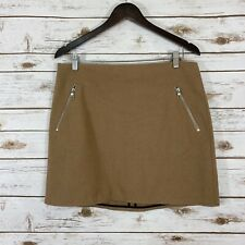 Woman's GAP Size 10 Wool Zippered Casual Mini Skirt Tan Brown