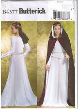 Renaissance Back Lace Up Dress Gown Cape Cloak Hood Sewing Pattern 14 16 18 20