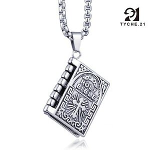 Unisex Silver Bible Open Pages Pendant Necklace Lord's Prayer Stainless Steel